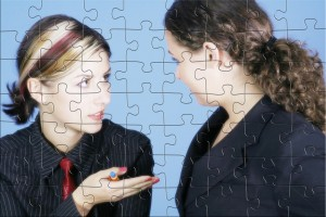 jigsaw puzzle of 2 women discussing