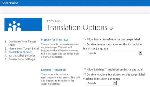 Machine translation options in SharePoint 2013