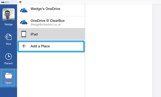 Open and Add a Place in Office for iPad