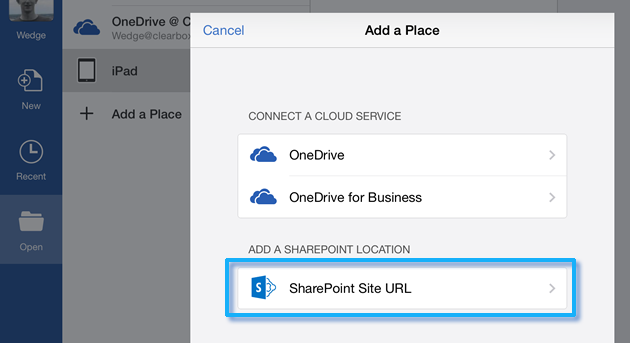 SharePoiont SIte URL in Office for iPad