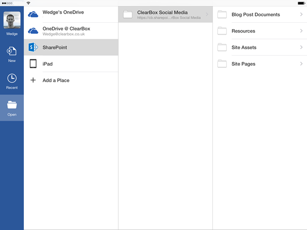 SharePoint folders in Word for iPad