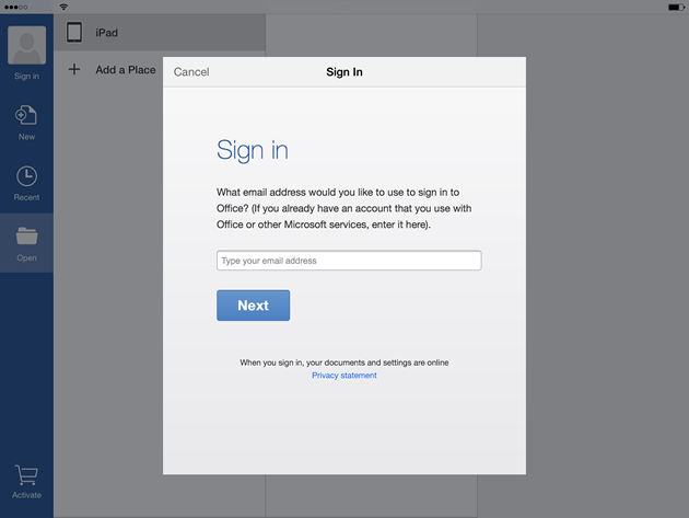 Sign in to Office for iPad (Office 365)