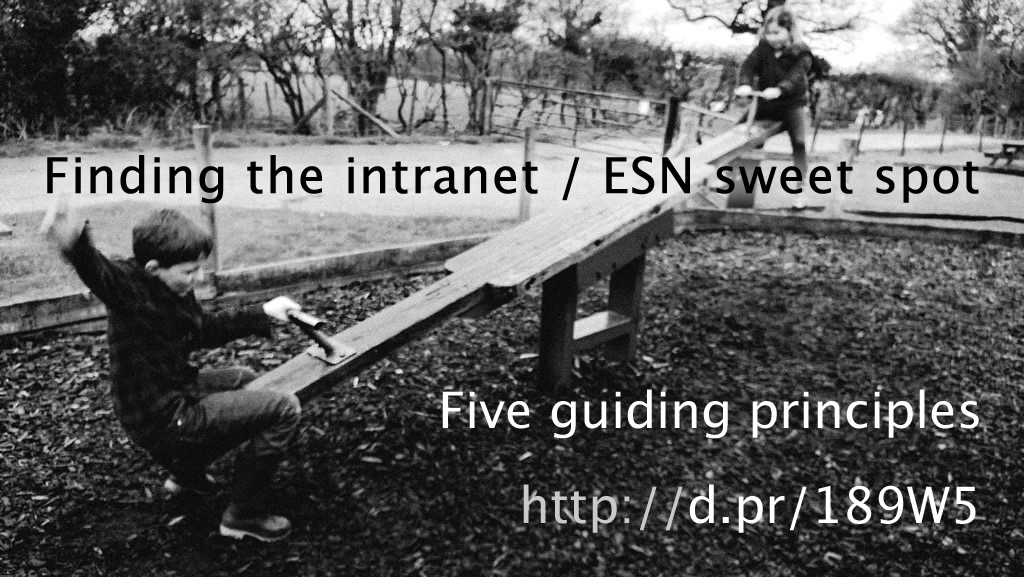 Finding the intranet / ESN sweet spot - five guiding principles