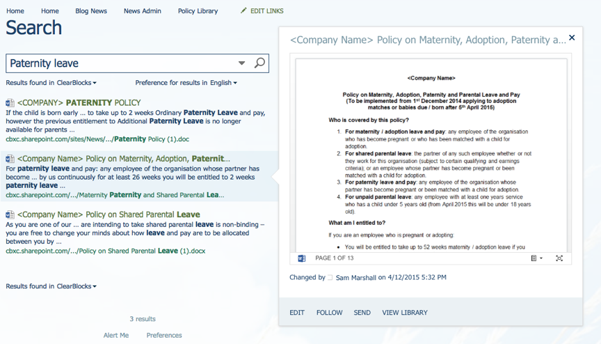 Paternity Leave Search
