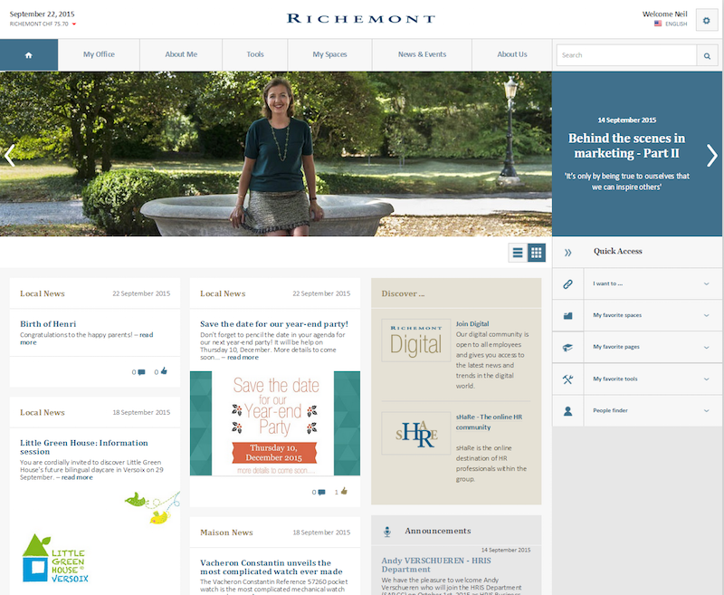 Richemont intranet with card-style news