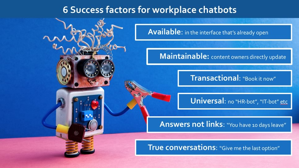 Six success factors for workplace chatbots.