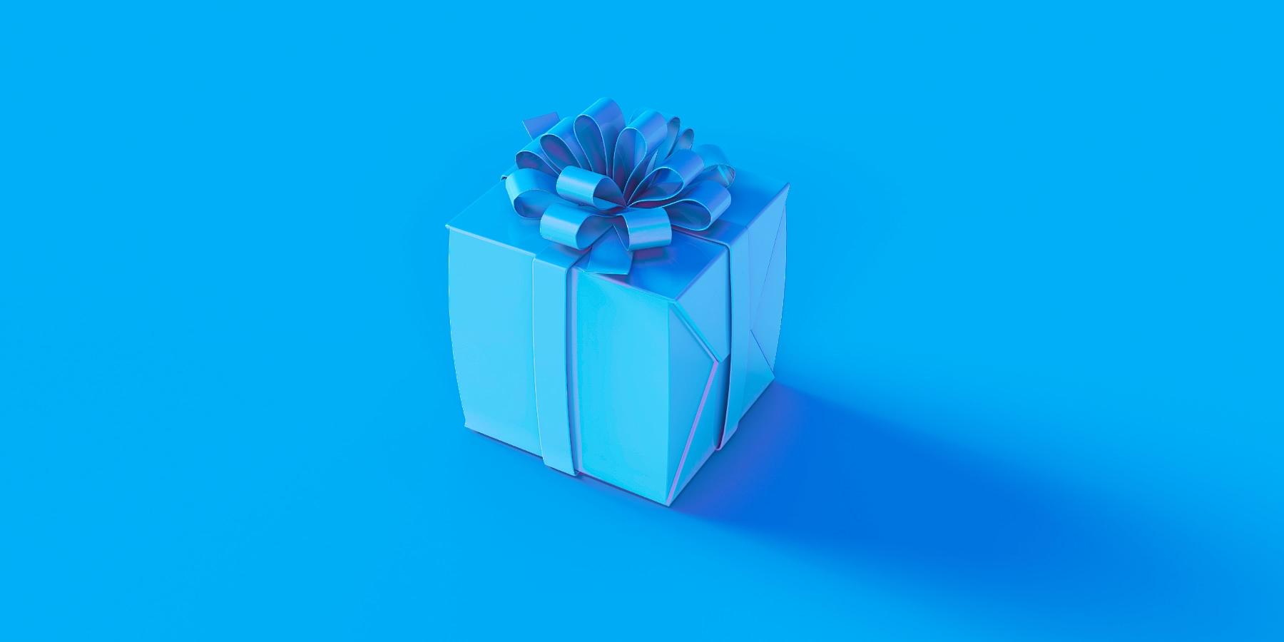 Wrapped blue box.