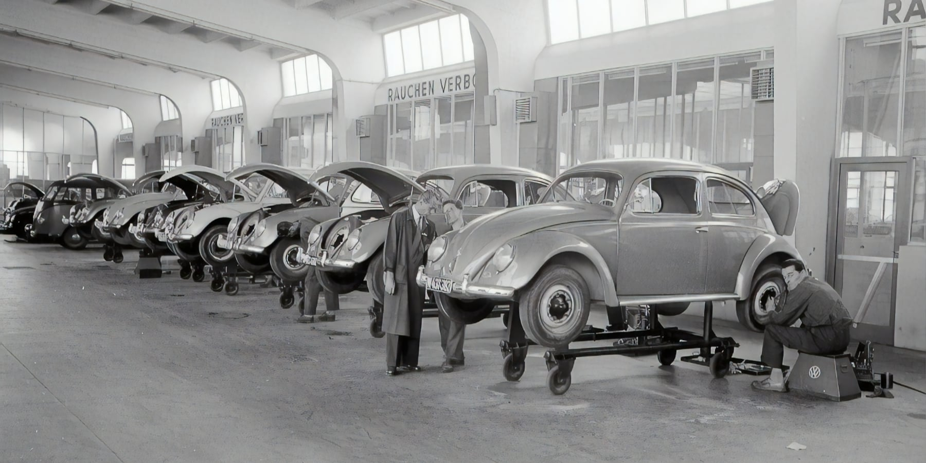 Austrian National Library, VW Beetle manufacturing line, 1957.