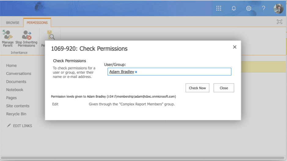 Check permissions in SharePoint.