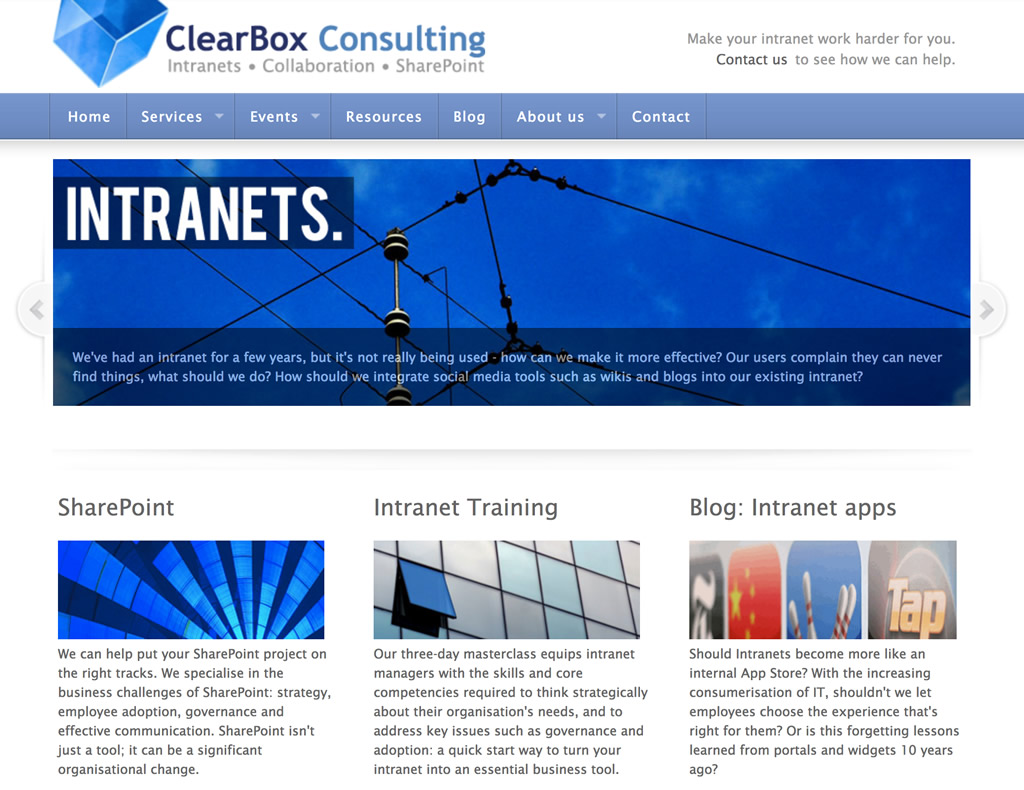 ClearBox website in 2011