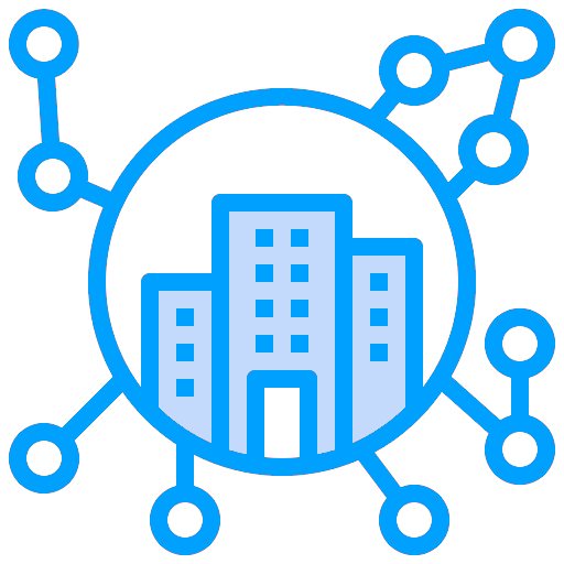 Icon: enterprise building with links