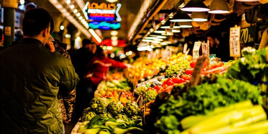 Fruit and veg market stall.