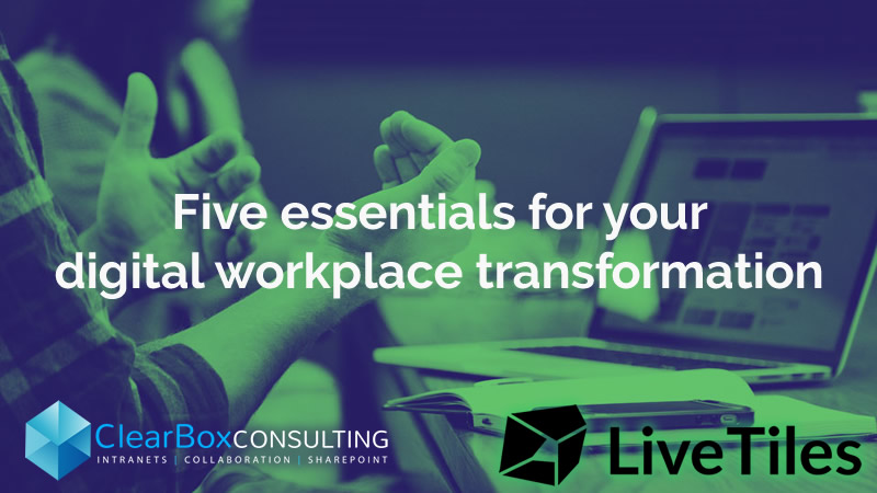 Hands over laptop: Five essentials for your digital workplace transformation.