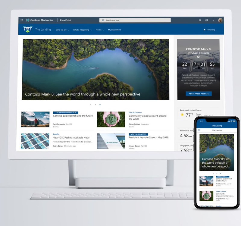 SharePoint home site - whte design.