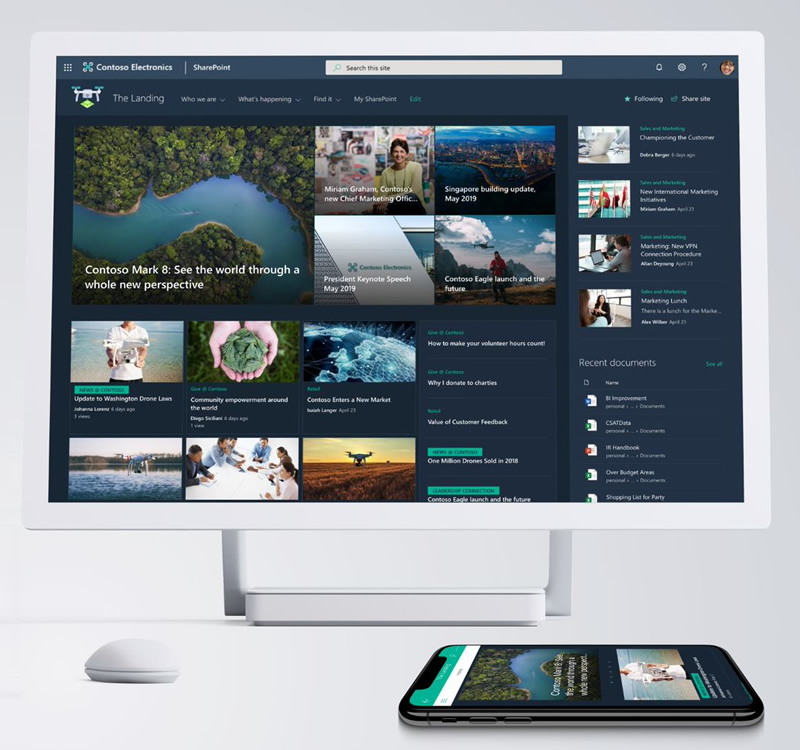 SharePoint home site - dark design.