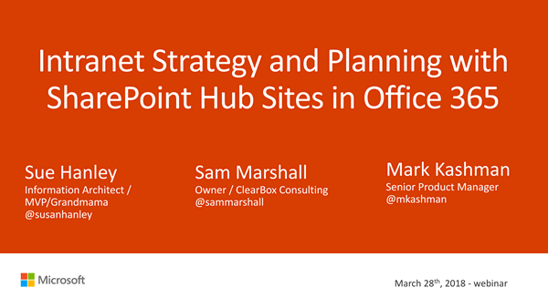 Intranet Strategy and Planning with SharePoint Hub Sites in Office 365.