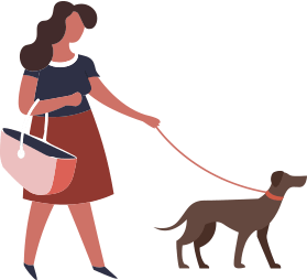Lady walking her canine companion.