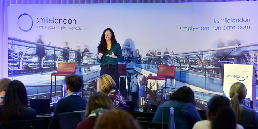 Meritxell Guinart Mola on stage at smilelondon 2019.