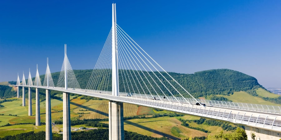 Millau Viaduct with blue sky