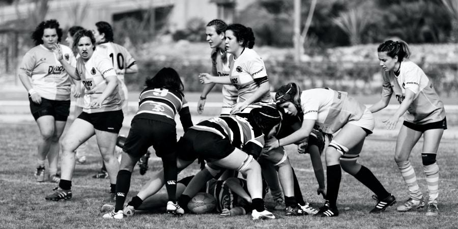 Rugby scrum.