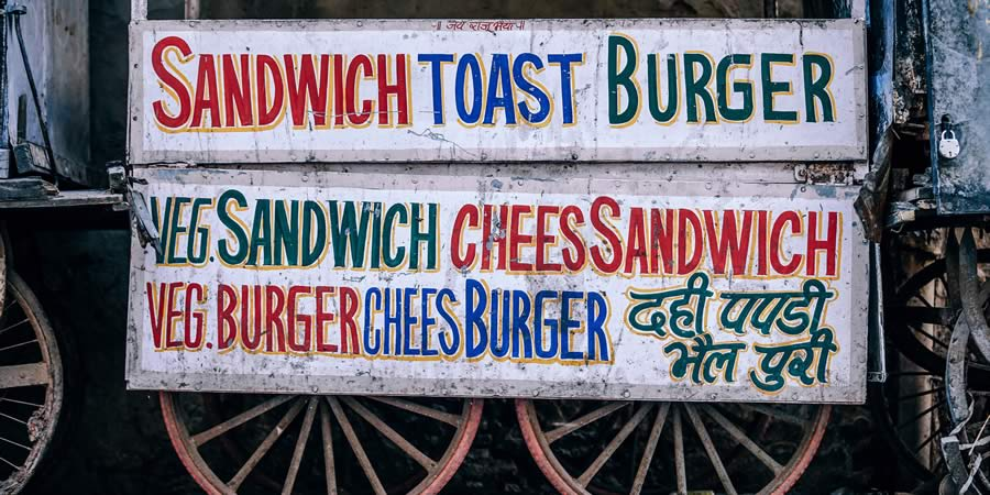 Old beaten up sandwich menu.