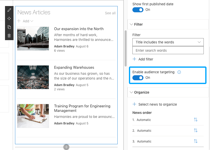 Screenshot of SharePoint news article audience targeting filter.