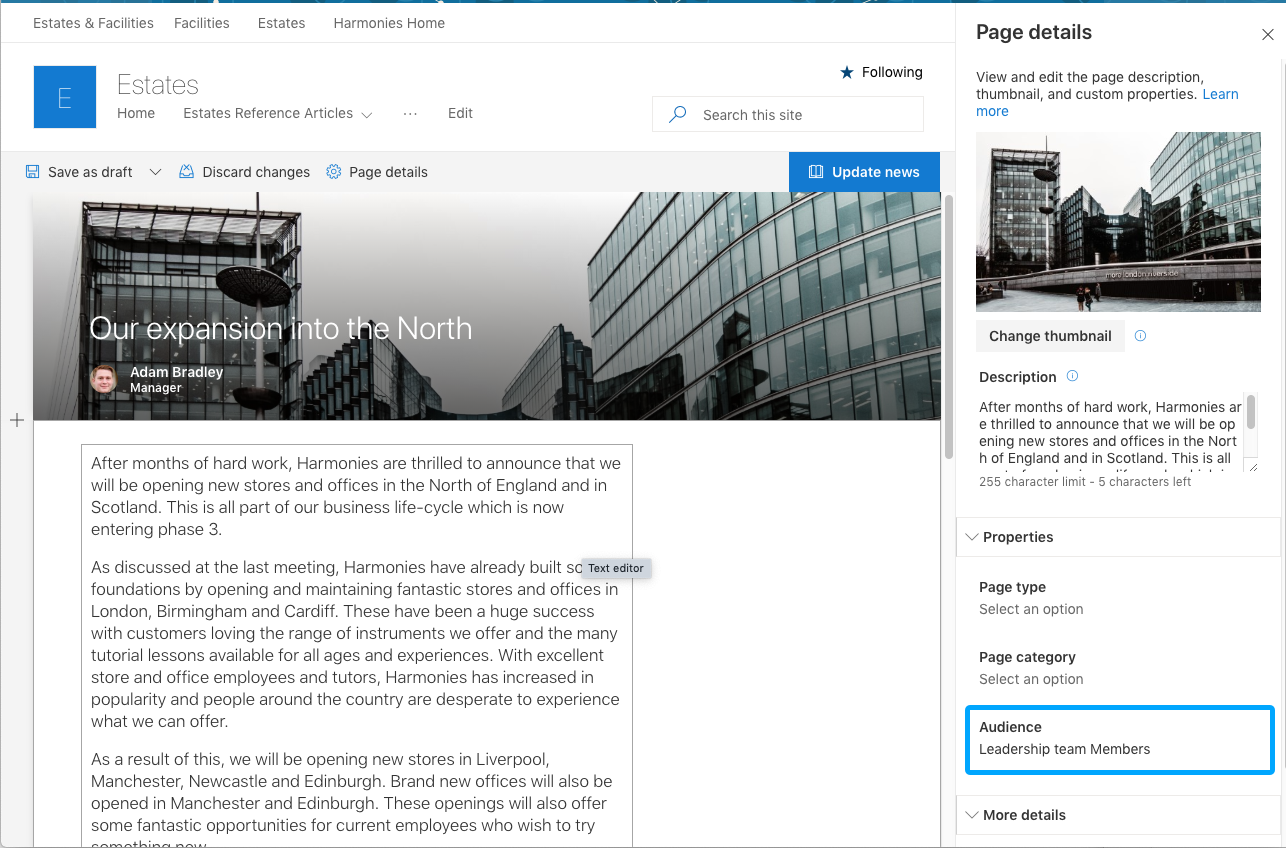 Screenshot of SharePoint news article page detail panel.