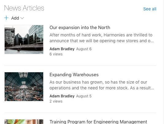 Screenshot of SharePoint New Articles
