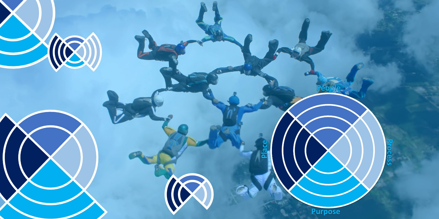 Skydivers in a circle, with an overlay of graphic circles.