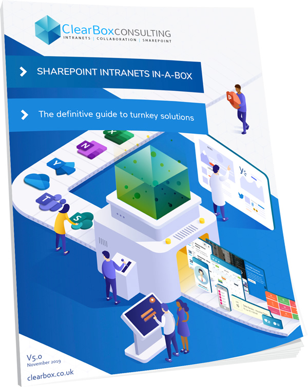 SharePoint intranets in-a-box report V5 cover.