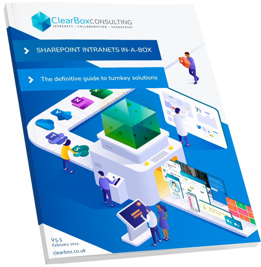 SharePoint intranets in-a-box report cover.