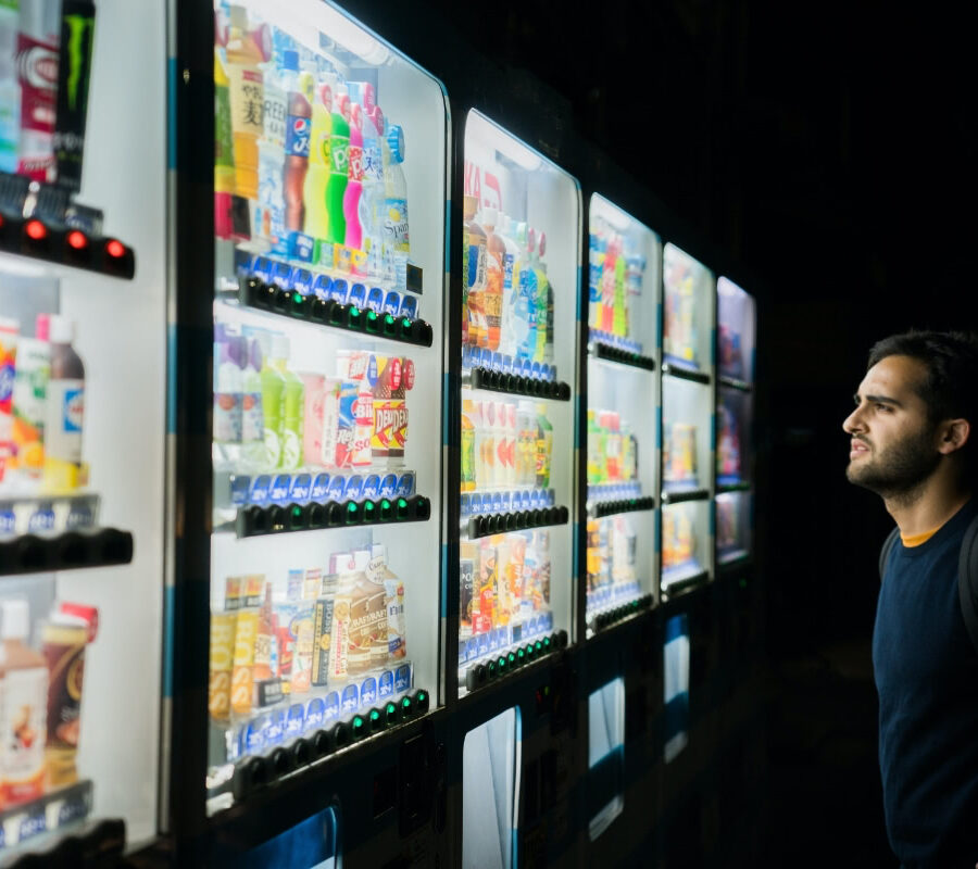 Staring at four vending machines in the dark.