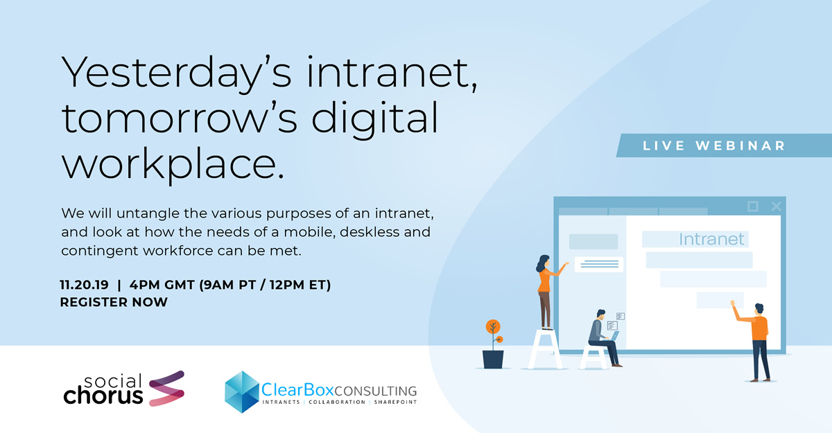 Yesterday's intranet, tomorrow's digital workplace. We will untangle the various purposes of an intranet, and look at how the needs of a mobile, deskless and contingent workforce can be met.